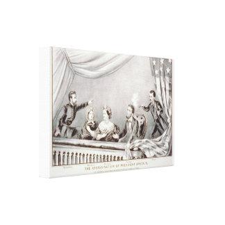 El asesinato de presidente Lincoln Lithograph Impresión En Lona Estirada