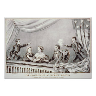 El asesinato de presidente Lincoln Lithograph Póster