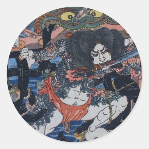 ¡El asesino de Kuniyoshi! Pegatina Redonda