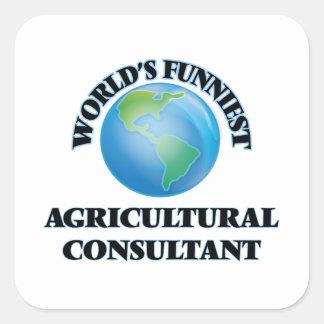 El asesor agrícola más divertido del mundo calcomanía cuadradas personalizadas