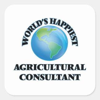 El asesor agrícola más feliz del mundo pegatina cuadrada