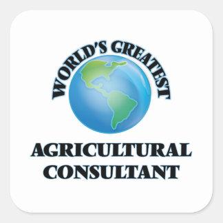 El asesor agrícola más grande del mundo calcomanias cuadradas