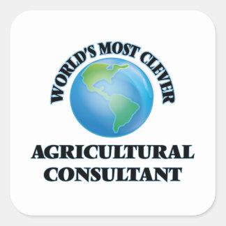 El asesor agrícola más listo del mundo calcomanía cuadrada