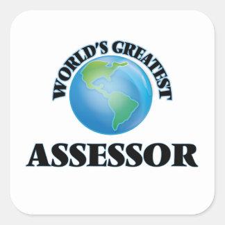 El asesor más grande del mundo calcomanías cuadradass personalizadas