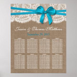 El asiento azul rústico de la colección del boda póster