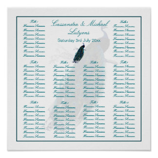 El asiento de la tabla de la colección del pavo re poster