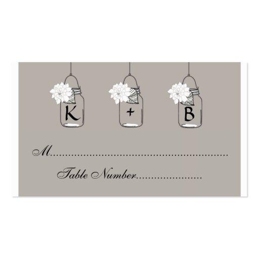 El asiento del boda del tarro de albañil carda tarjetas de visita