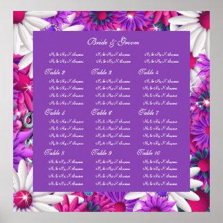 El asiento del boda traza rosa púrpura posters