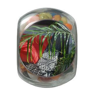 El asiento tropical del balneario, zen tranquilo frascos de cristal