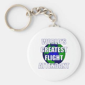 El asistente del vuelo más grande del mundo llavero redondo tipo pin