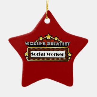 El asistente social más grande del mundo adorno navideño de cerámica en forma de estrella