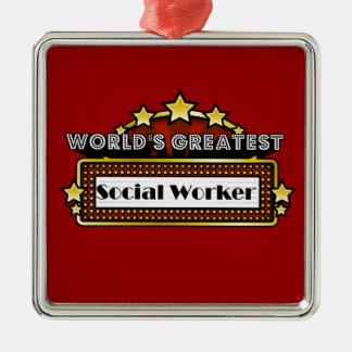 El asistente social más grande del mundo adorno cuadrado plateado