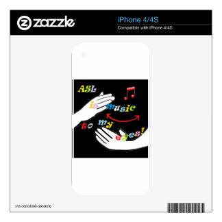 ¡El ASL es música a mis OJOS! Calcomanía Para El iPhone 4
