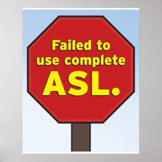 El ASL para la muestra para los profesores Póster