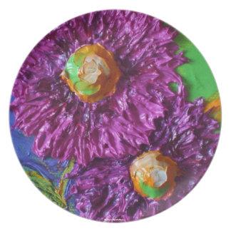 El aster púrpura florece la placa platos para fiestas