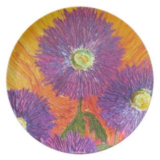 El aster púrpura florece la placa plato para fiesta