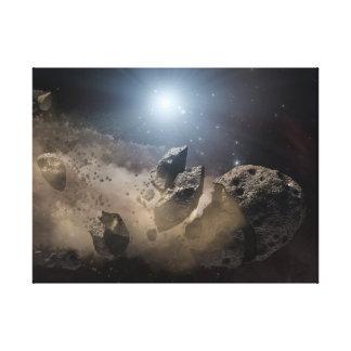 El asteroide muerde el polvo impresión en lienzo