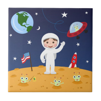 El astronauta encendido estropea la teja del dibuj