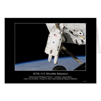 El astronauta Felipe Perrin cerca del braguero de  Tarjeta De Felicitación