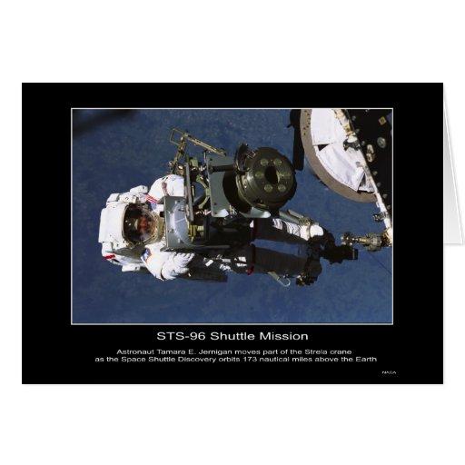 El astronauta Tamara E. Jernigan mueve la parte de Tarjeta De Felicitación
