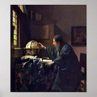 El astrónomo de Juan Vermeer Posters
