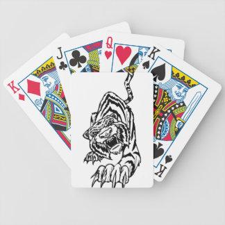 El atacar blanco y negro del tigre cartas de juego