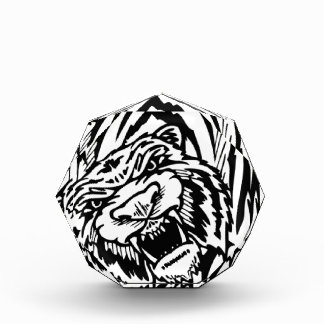 El atacar blanco y negro del tigre