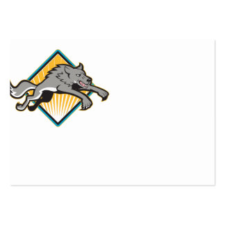 El atacar de salto del perro salvaje del lobo gris tarjeta de visita