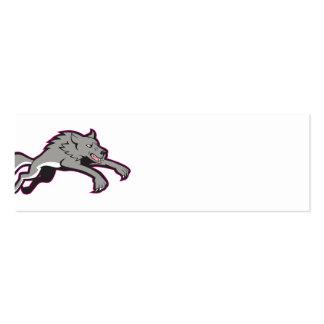 El atacar de salto del perro salvaje del lobo gris plantilla de tarjeta de negocio