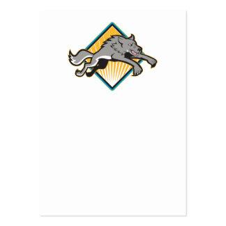 El atacar de salto del perro salvaje del lobo gris tarjeta personal