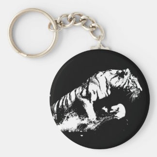 El atacar del tigre llavero redondo tipo pin