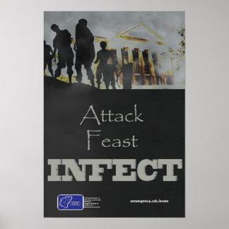 El ataque, banquete, infecta el poster del zombi