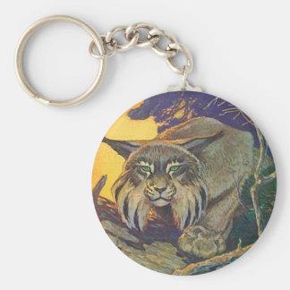 El ataque repentino del vagabundeo del gato de la llavero redondo tipo chapa