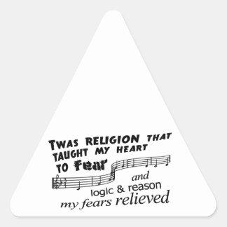 El ateísmo asombroso pegatina triangular