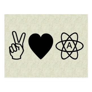 El ateísmo del amor de la paz postales