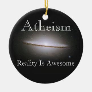 El ateísmo, realidad es impresionante adorno navideño redondo de cerámica
