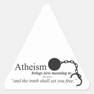 El ateísmo trae el nuevo significado pegatina triangular