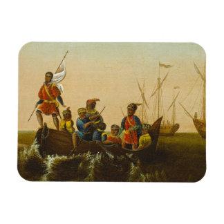 El aterrizaje de Columbus, c.1837 (aceite en lona) Imán Flexible