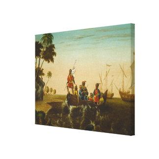 El aterrizaje de Columbus, c.1837 (aceite en lona) Impresión En Tela