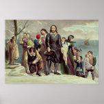 El aterrizaje de los peregrinos en Plymouth Poster