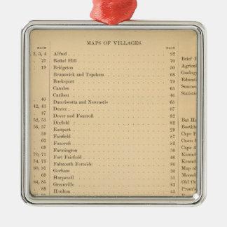 El atlas de Estuardo del estado de Maine Adorno Cuadrado Plateado