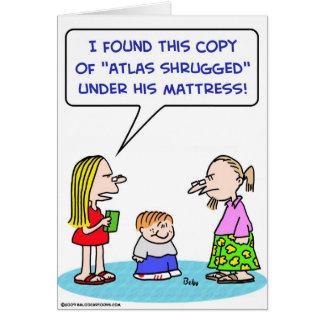 el atlas encogió el rand del ayn debajo del colchó tarjeta de felicitación