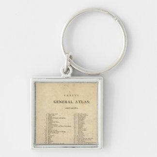 El atlas general de Carey de la página de título Llavero Cuadrado Plateado