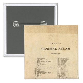 El atlas general de Carey de la página de título Pin Cuadrado