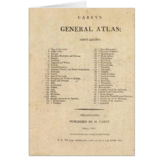 El atlas general de Carey de la página de título Tarjeta De Felicitación