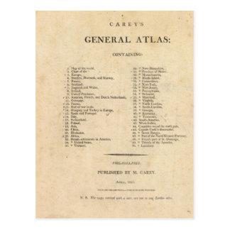 El atlas general de Carey de la página de título Postal