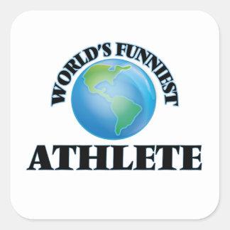 El atleta más divertido del mundo pegatina cuadrada