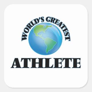 El atleta más grande del mundo pegatina cuadrada