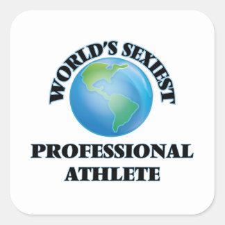 El atleta profesional más atractivo del mundo pegatina cuadrada