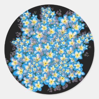 El atontamiento me olvida no arte de la flor en lo pegatina redonda